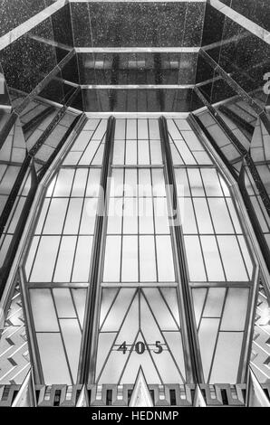 Architectural design detail of the entrance glass windows to the art deco Chrysler Building - Stock Photo