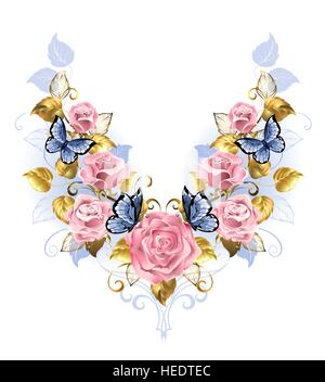Symmetrical pattern of pink roses, blue butterfly, blue and gold leaf on a white background. Design with roses. - Stock Photo