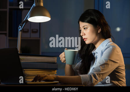 asian business woman drink coffee refreshing working overtime late night. indoors office background