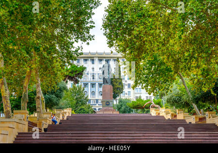 BAKU, AZERBAIJAN - SEPTEMBER 23: People walking on the staircase at Nizami park in Baku. Nizami street is a popular - Stock Photo