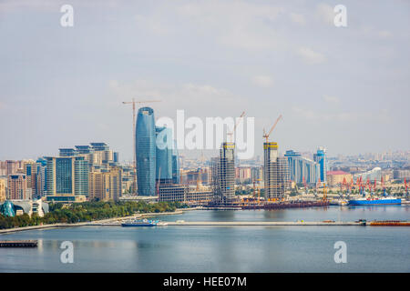 View over Baku skyline with Caspian sea, Azerbaijan - Stock Photo