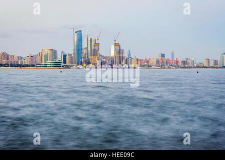 View over Baku skyline from Caspian waterfront, Azerbaijan - Stock Photo