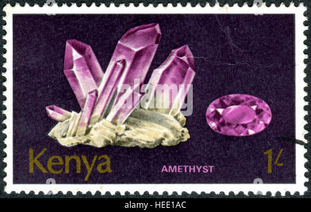 KENYA - CIRCA 1977: A stamp printed in Kenya, shows a mineral Amethyst, circa 1977 - Stock Photo
