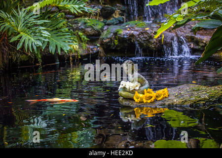 Delicieux ... Statue In Koi Pond In Marie Selby Botanical Gardens In Sarasota Florida    Stock Photo
