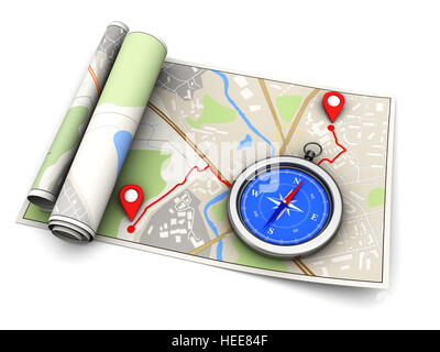 3d illustration of map with route and compass, navigation concept - Stock Photo