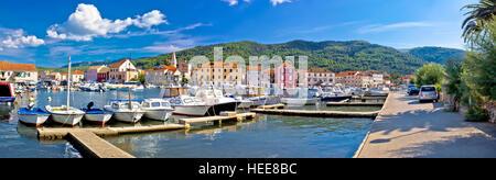 Stari Grad on Hvar island panoramic view, Dalmatia, Croatia - Stock Photo