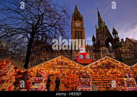 Manchester Christmas Market and Town Hall at Albert Square, Manchester Town Centre, Greater Manchester. England. - Stock Photo