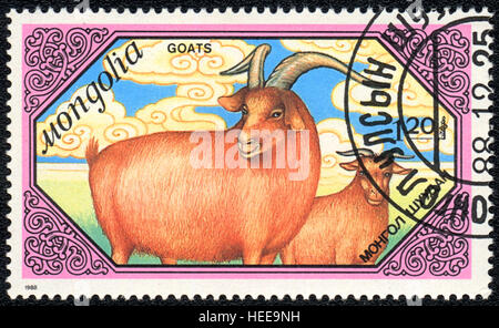 A postage stamp printed in Mongolia shows Red goats,  'Goats' series, 1988 - Stock Photo