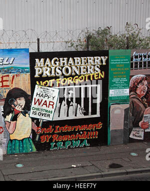 Belfast Falls Rd Republican Mural- Maghaberry Prisoners Not Forgotten LRPWA Internment by remand - Stock Photo