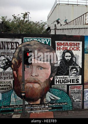 Belfast Falls Rd Republican Mural - Brendan Hughes Smash The H-Block - Stock Photo