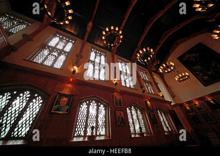 Queens University Belfast grand hall with paintings, Northern Ireland, UK - Stock Photo