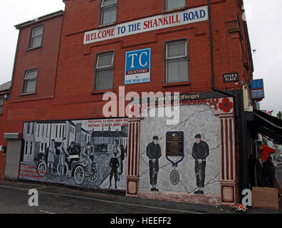 Belfast Unionist, Loyalist Mural & Welcome to the Shankill Road - Stock Photo