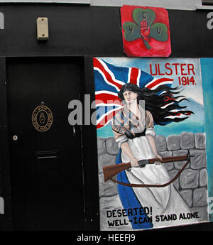 Belfast Unionist, Loyalist Mural Ulster 1914 woman deserted,well I can stand alone! - Stock Photo