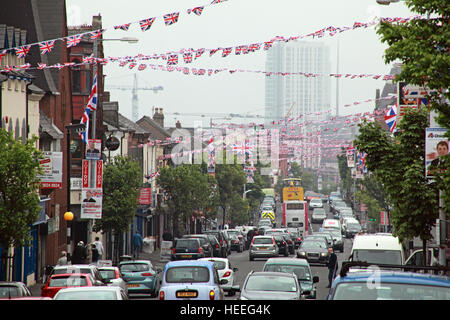 Belfast Unionist, Loyalist flags Shankill Rd,after royal wedding looking down towards city centre - Stock Photo