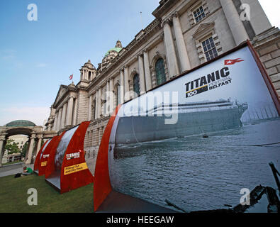 Belfast City Hall Baroque Revival Architecture, Donegall Square, Northern Ireland, UK - Titanic 100 years celebration - Stock Photo