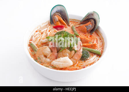 Seafood laksa soup - Stock Photo