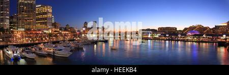 Panorama view of Darling harbor - Stock Photo