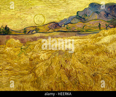 Wheat Field with Reaper and Sun, by Vincent van Gogh, 1889, Kroller-Muller Museum, Hoge Veluwe National Park, Otterlo, - Stock Photo