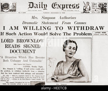 Front page story from The Daily Express of December 8th, 1936 issuing a statement from Mrs. Simpson offering to - Stock Photo