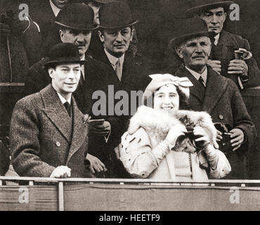 King George VI and Queen Elizabeth seen here in the Royal Box at Aintree racecourse for the 1937 Grand National. - Stock Photo