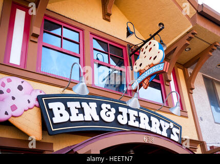 Ben & Jerry's Ice Cream Shop front sign in Gatlinburg Tennessee - Stock Photo