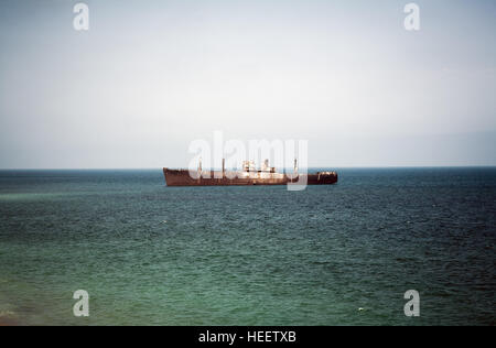Shipwreck anchored off the west water off the Black Sea - Stock Photo