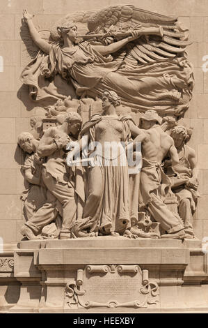 Regeneration, by James Earle Fraser, one of the sculptures adorning the Michigan Avenue Bridge / DuSable Bridge - Stock Photo
