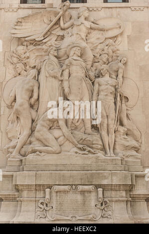 The Discoverers, by James Earle Fraser, one of the sculptures adorning the Michigan Avenue Bridge / DuSable Bridge - Stock Photo