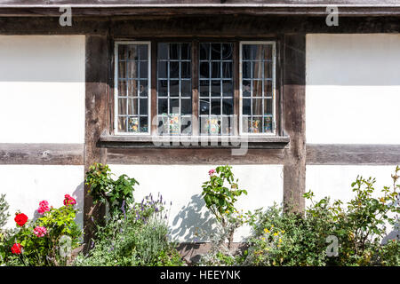 Typical 16th century house wood framed window, f St Anthony's timber framed late medieval Tudor wealthy merchant's - Stock Photo