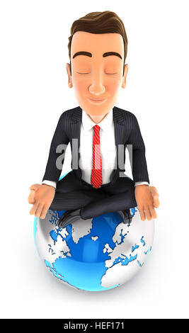 3d businessman doing yoga on top of the earth, illustration with isolated white background - Stock Photo