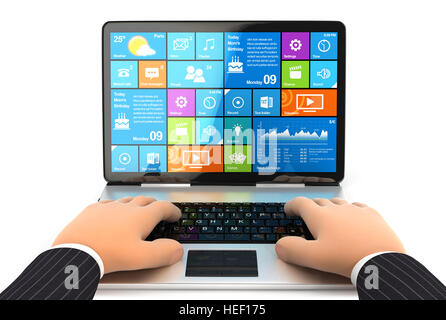 3d businessman working on laptop, illustration with isolated white background - Stock Photo