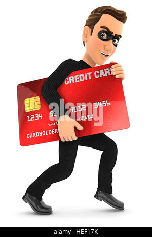 3d thief with a stolen credit card, illustration with isolated white background - Stock Photo