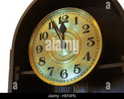 close-up of the retro clock at New Year`s midnight - Stock Photo