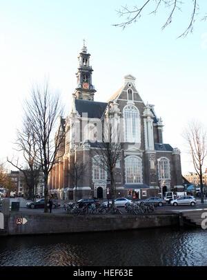 Westerkerk ('Western church'), Dutch Protestant church,  Amsterdam Jordaan district, between Prinsengracht & Keizersgracht - Stock Photo