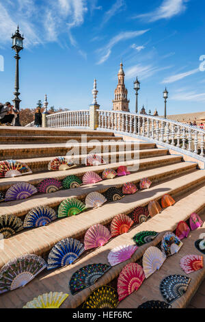 Placa de Espana, spanish square, bridge covered with fans,  Seville, Andalusia, Spain,   La Palma, Canary Islands, - Stock Photo