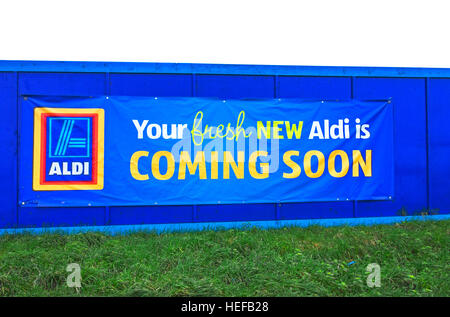 A new Aldi store advertising sign - Stock Photo
