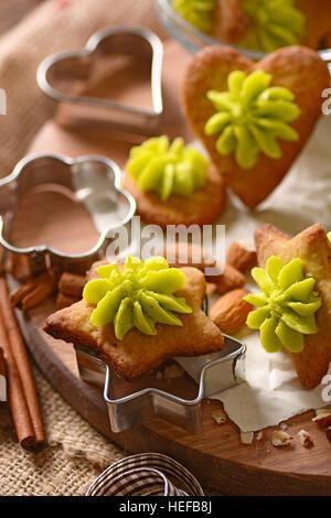 cookies with almonds and pistachio cream homemade - Stock Photo