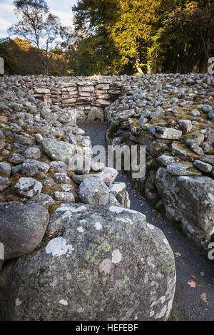 Passage Grave at Clava Cairns in Scotland. - Stock Photo