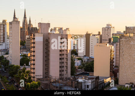 La Plata, Buenos Aires, Argentina city skyline with cathedral on the background - Stock Photo