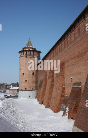Kolomna Kremlin in Moscow region. Kremlin Wall and Marinkin (Kolomna) tower - Stock Photo