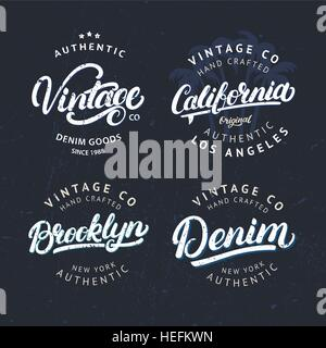 Set of tee prints, labels, badges. California, Vintage, Brroklyn and Denim hand written lettering. Tee apparel fashion - Stock Photo