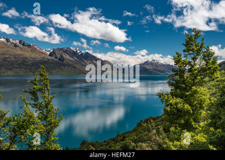 Glenorchy Queenstown Road - Lake Wakatipu, Queenstown - New Zealand's South Island - Stock Photo
