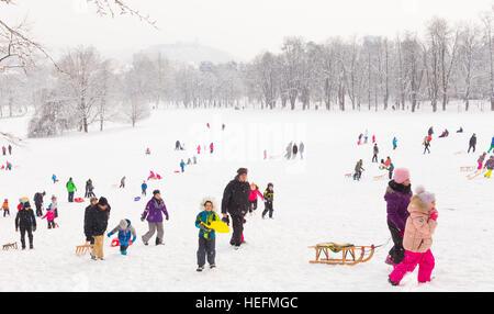 Winter fun, snow, family sledding at winter time. - Stock Photo