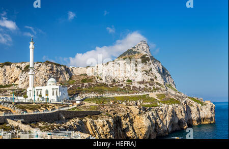 Rock of Gibraltar and Mosque seen from Europa Point - Stock Photo
