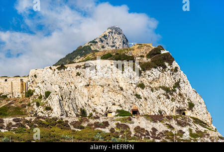 Rock of Gibraltar seen from Europa Point - Stock Photo