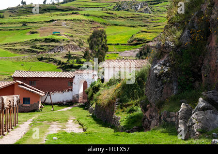 Mountains and rural area in the small village of Chinchero in the Sacred Valley near Cuzco. Chinchero is a small - Stock Photo