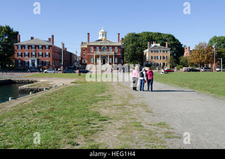Salem Maritime National Historic Site, MA waterfront buildings including Custom House in the center and the Benjamin - Stock Photo