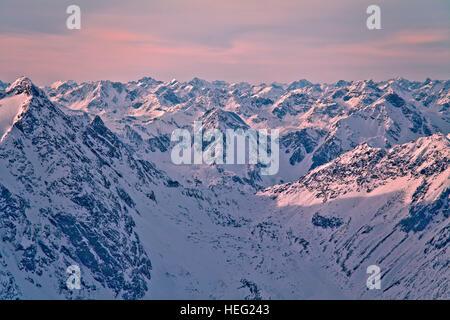 Austria, Tyrol, Pitztal (valley), panorama of the Hintere Brunnenkogel - Stock Photo