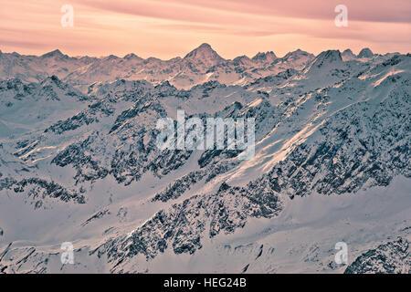 Austria, Tyrol, Pitztal (valley), panorama of the Brunnenkogel view to Silvretta - Stock Photo