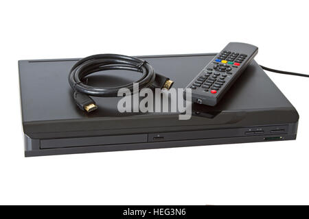 Multi Media blue ray player  on white background - Stock Photo